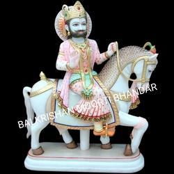 White Ramdev Marble Statue, for Decoration, Size: 19 Inches