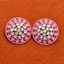 Pink Meena Designer Polki Studs In Sterling Silver