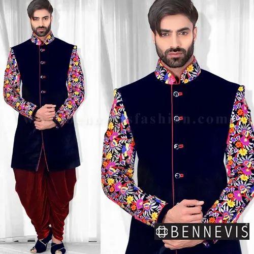 24e4296c Black Floral Velvet Designer Indowestern Sherwani