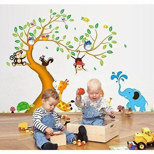 pvc vinyl animals wall sticker for play school, rs 40 /sheet | id