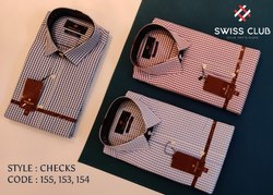 Fine Cotton Collar Neck Swiss Club Men's Formal Checks Shirt, Machine wash