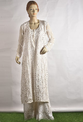 Chikan Embroidered Kurti With Plazzo (Gotta Patti Work)