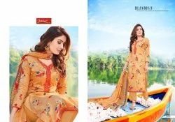 Sameera Unstitch Glace Satin Cotton Print With Embroidery Work, Normal Wash Care