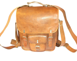 Genuine Leather Messenger Bag Cum Backpack
