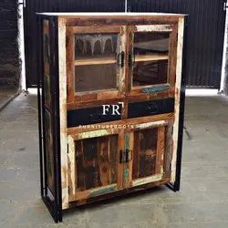 Wooden Vintage Furniture - Vintage, Old World Style, Foyer Liquor Wine Cabinet, Sideboard
