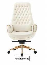 White Leatherette Silver Arrow Designer Chair