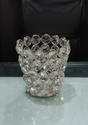 Metal Table Top Round Crystal Votive Tea Light Candle Holder (silver)