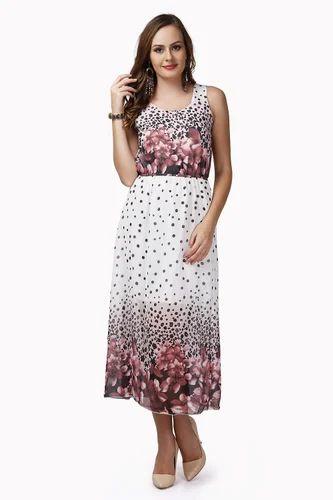 02c6af988286 Large Casual Brown Print Faux Chiffon Maxi Dress