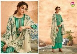 Printed Multicolor Jam Satin Print With Fancy Emb