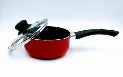 HOT & TUFF Red & Orange Saucepan With Lid, For Kitchen Use, Capacity: 700 Ml