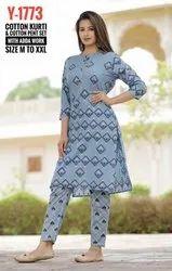Printed Ladies Cotton Kurti With Adda Work
