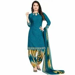 Rajnandini Blue Crepe Printed Unstitched Dress Material