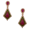 Mahaveer Pearls New Festive Collections Stylish Deep-colored Brass Drop Earring
