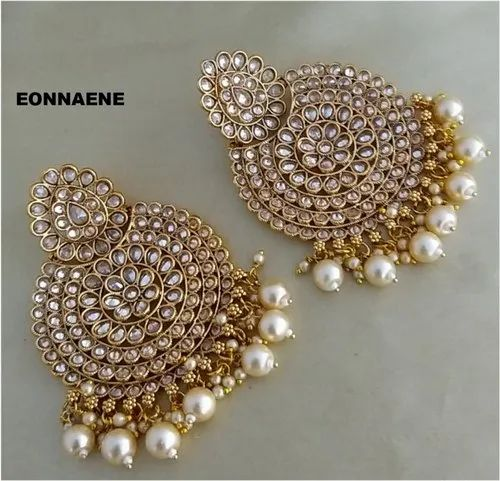 Indian Ethnic Gold Plated Polki Meena Lct Stone Earring Fashion Bollywood Jewelr Superior Materials Jewelry & Watches