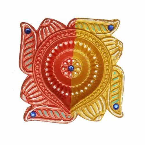 Decorative Swastik Design Clay Diya