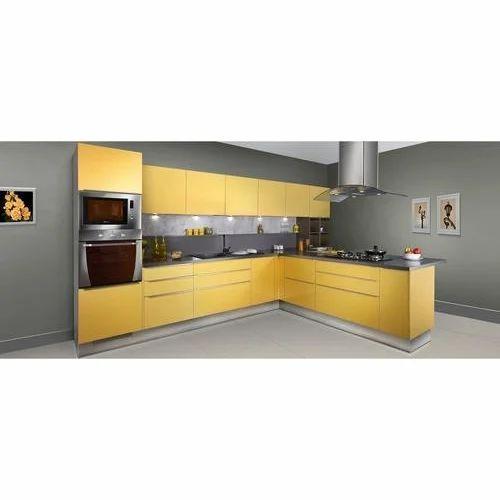 Yellow L Shaped Modular Kitchen At Rs 130000 Set L Shape Modular