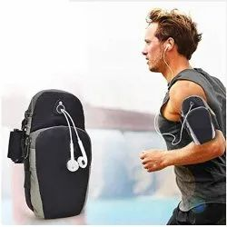 Plain Black And Silver Polyester Arm Bag Sport Pouch