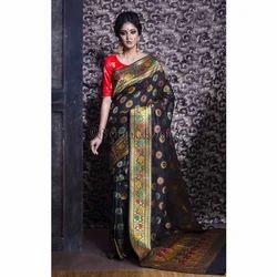 Art Silk Patola Banarasi Saree in Black