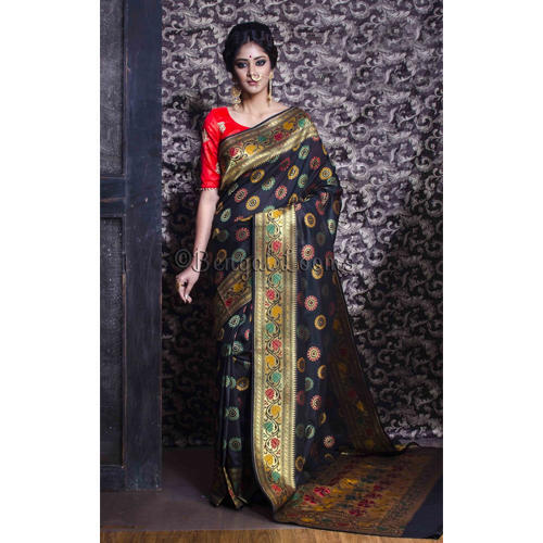 136adff5ca7eb4 Banarasi Sarees - Chanderi Cotton Banarasi Saree in Red and Gold Exporter  from Kolkata