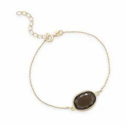 Oval Shape Smoky Topaz 12x16mm Beautiful Chain Gold Plated Everyday Wear Gemstone Bracelet