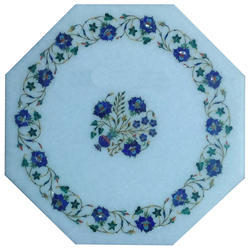 White Marble Inlay Pietra Dura Table Top