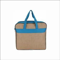 Blue and Brown Plain Corporate Jute Bags