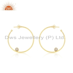 Round Gold Plated 925 Silver Natural Pearl Gemstone Earring Jewelry