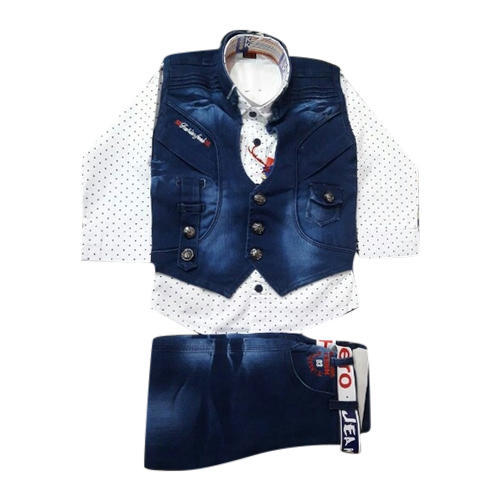 0c6592fcae90 Denim And Cotton 3 Piece Kids Baba Suit