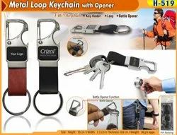 Metal Loop Keychain with Opener