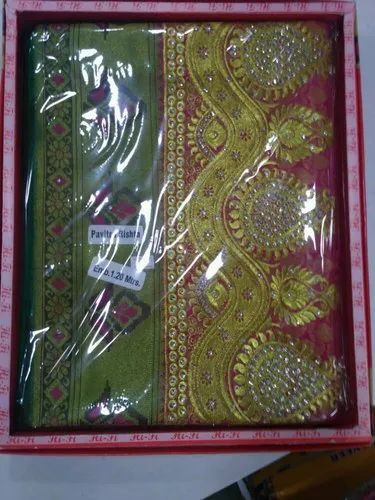 Silk Party Wear Ladies Green Pattu Sarees, 6.3 m (with blouse piece)