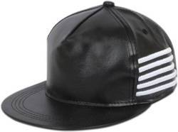 Black Leather Hip Hop Cap