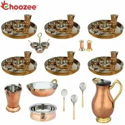 Choozee - Set of 6, Stainless Steel Copper Thali Set with Serveware, Copper Royal Jug & Matka Glass