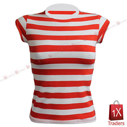 Cotton Round Necked Red Stripes T Shirt , Size: Small, Medium, Large, XL