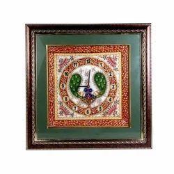 Beautiful Marble Clock With Peacock Minakari Work