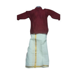 Party Wear And Festive Wear Maroon And White Mens Ethnic Shirt Dhoti Set