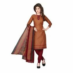 Rajnandini Rust Cotton Printed Unstitched Dress Material