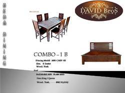 WOODEN BED & DINING SET