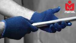 Single Side Blue Dotted Hand Gloves