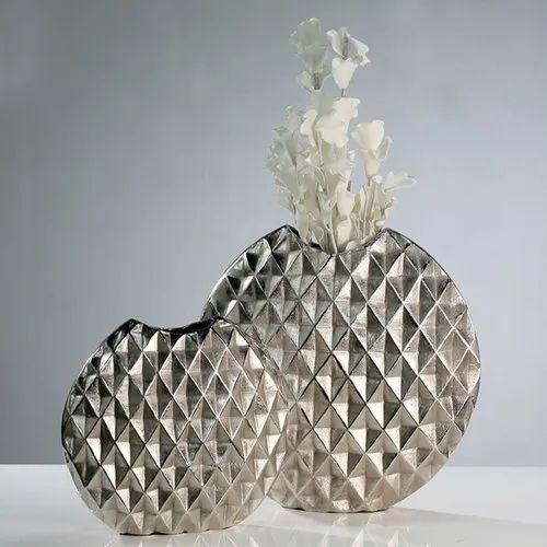Silver Najam Meatl Flower Vase Aluminium