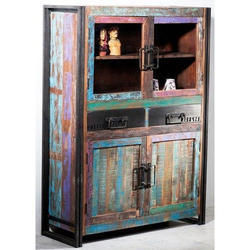 Wooden Cabinet With Iron Base