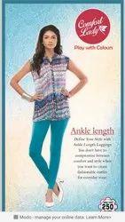 218 Colours Cotton Lycra Comfort lady churidars leggings, Size: Free