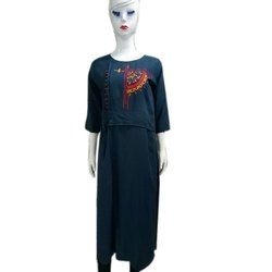 3/4th Sleeve Party Wear Ladies Embroidered Long Kurti, Size: S-XXL