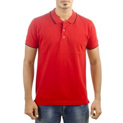 Men Polo Neck Red T-Shirt