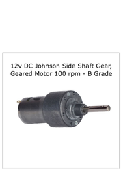 12v DC Johnson Side Shaft Gear, Geared Motor 100 rpm - B Grade