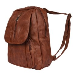Leatherette Plain Girls Brown College Bag