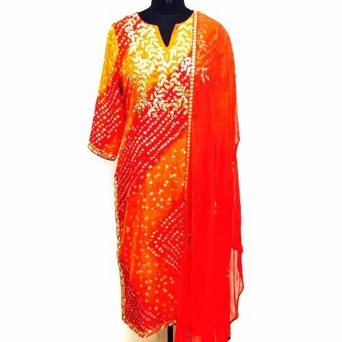 3d69d94515 Small , Large Party Wear Bandhani Print Gota Patti Suit, Rs 1870 ...
