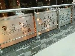 Rectangular Stenles steel Glass railing