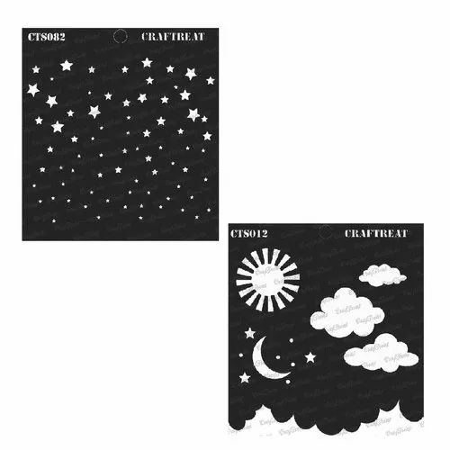 CrafTreat Stencil Wall Tile | Reusable Painting Template for Home Decor Happy Together Fabric DIY Albums and Printing on Paper Wood 6X6 Crafting 4 pcs Family Happy Smile /& Welcome Home