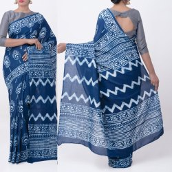 Hand Block Indigo Printed Cotton Saree