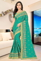 Paper Silk Designer Pallu Embroidered Work Green Color Saree